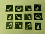 10 - 100 x Music themed stencils for etching on glass   hobby  / craft / music note / guitar